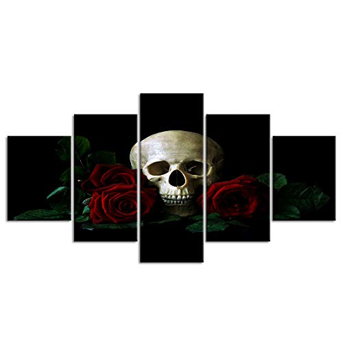 Halloween Day Skull Canvas Wall Art Abstract Black and White Print Home Decor for Living Room Contemporary Pictures 5 Panel Large Poster Decal Painting Framed Ready to Hang (50