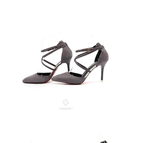 Suede da strap Qiqi Hollow scarpe tacchi grigio Balac tacco stiletto 38 Xue sandali pompe donna TnYZatX