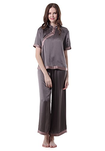 Narasilk Women's 100% Satin Silk,Retro Short Sleeves Crop Jeans Pajama Set,Sleep M Dark Gray & Gray Purple
