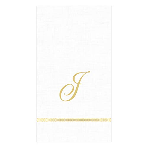 Caspari Hemstitch Script Paper Guest Towel Napkins in Letter J, 60 Napkins Included