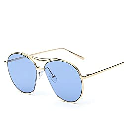 Women's Fashion Style Sunglasses Golden Metal Frame with Blue Lens