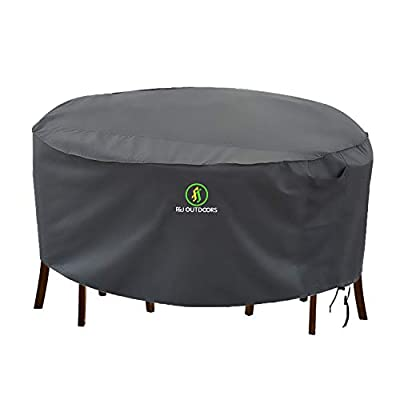 Table and Chair Covers, Outdoor Patio Furniture Cover Durable Waterproof UV Resistant Fabric, Fit Round Furniture Set, Grey