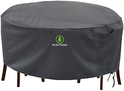Outdoor Patio Furniture Covers, Waterproof UV Resistant Anti-Fading Cover for X-Large Round Table Chairs Set, Grey, 110 inch Diameter