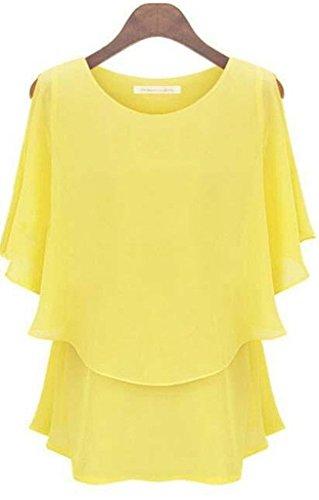 Women's Sexy Casual T-shirt Short Sleeve Chiffon Tops Crew Bat Sleeve - Short Sleeve Yellow Blouse