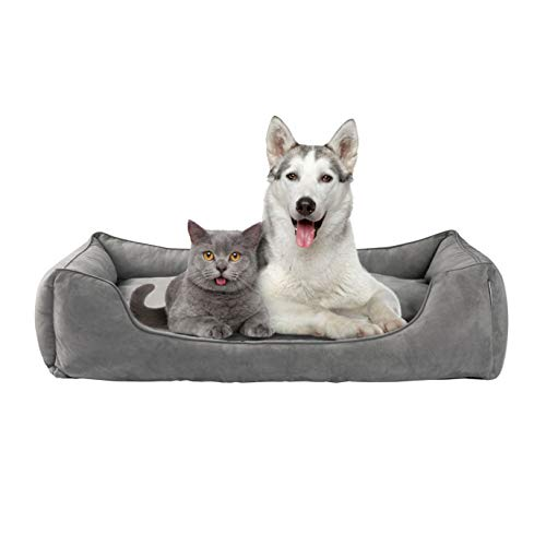 Love's cabin Medium Dog Bed with Removable Washable Cover, Cuddler Pet Bed for Medium Large Dogs & Cats Pet Bedding Grey, Padded Cushion Water-Resistant Bottom, Super Soft & Durable Pet Supplies