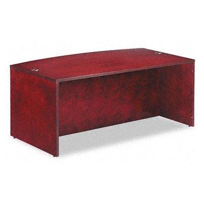 (Verona Veneer Series Bow Front Desk Shell, 71w x 42d x 29-1/2h, Mahogany)