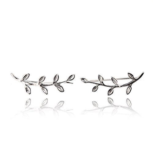 Sovats Leaf Earring For Women 925 Sterling Silver Rhodium Plated - Simple, Stylish Climber Earrings&Trendy Nickel Free Earring by SOVATS