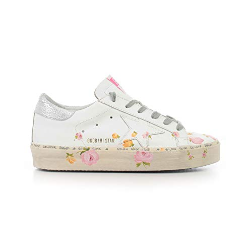 Golden Goose Women's Sneakers Hi Star COL B7 White Leather-Flowers G34WS945.B7 (Size: 40) - Sneaker Hi Leather Star