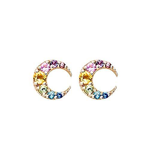 (Vigoner Delicate Coloful Topaz 18K Gold Plated Mini Size Moon Earrings Studs for Women Girls Gift)
