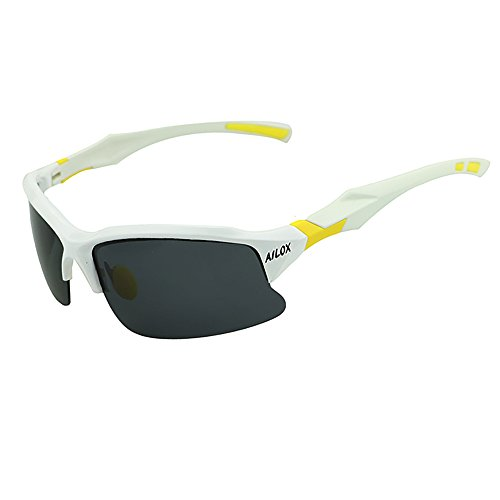 AILOX Polarized Sports Sunglasses with Unbreakable Frame for Men Women Fishing Cycling Driving Running Glasses (White)