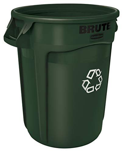 Rubbermaid Commercial Products 1788472 BRUTE Heavy-Duty Round Recycling/Composting Bin, 32-Gallon, Green Recycling