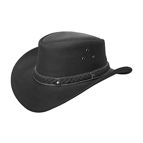 Brandslock Mens Leather Cowboy Hat Down Under Outback Wide Brim Black/Brown (XL, Black)