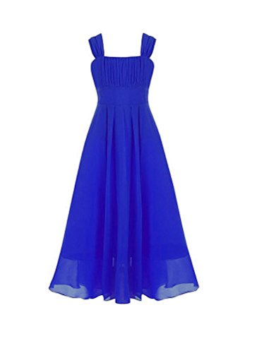 Horcute Big Girls Ruched Bodice Chiffon Floor-length Junior Bridesmaid Dress Gown Royal (Ruched Bodice Gown)