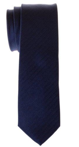 - Retreez Micro Herringbone Striped Woven Microfiber Skinny Tie - Navy Blue
