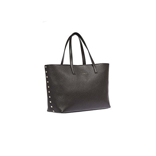 Trussardi Frauen-Handtasche aus echtem Leder mit Nieten Dollar, 100% Calf - 36x26x14 cm Dunkelbraun