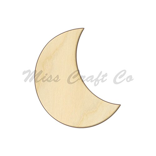 Half Moon Wood Shape Cutout, Wood Craft Shape, Unfinished Wood, DIY Project. All Sizes Available, Small to Big. Made in the USA. 7 X 6 - Moon Cut Half In