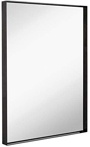Hamilton Hills Contemporary Brushed Metal Wall Mirror | Glass Panel Black Framed - All Bathroom Glass Mirrors Deep