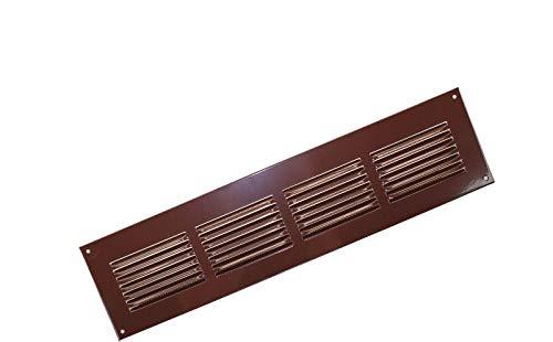 Marron m/étallique 400x100mm avec moustiquaire Grille da/ération murale Grille de ventilation