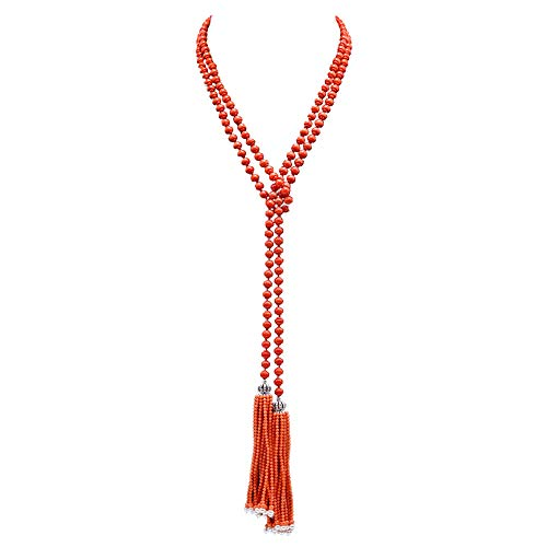 JYX Beautiful 6.5mm Red Coral Opera Necklace Tassel