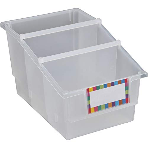 Really Good Stuff Chapter Book Library Bins with Dividers, Available in 19 Colors (Set of 4) - Versatile Organizer Bins with Removable Dividers for One, Two or Three Sections - Built-in Label Holder
