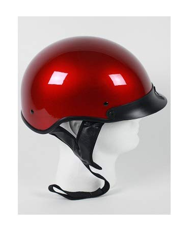 DOT Wine Red Motorcycle Half Helmet with Visor (Size XL, X-Large) ()