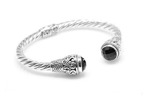 Cuff Yurman David Bracelet (BluSilver 925 Sterling Silver Hinged Twisted Cable Cuff Bracelet Filigree Semiprecious Stone End Caps (Black Onyx))