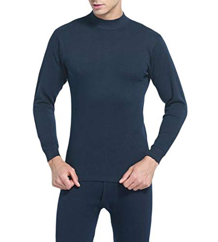 - Zimaes-Men Knit 2 Piece Set Solid-Colored Thermal Underwear Long Johns Set Navy Blue S