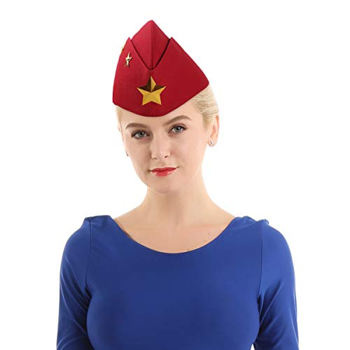 - YiZYiF Sailor Dance Hat Military Cap Square Dance Performance Sailboat Army Fan Stewardess Boat Cap Cosplay Costume Berets Red Stars