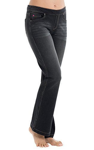 PajamaJeans Women's Bootcut Stretch Knit Denim Jeans in Charcoal G04134