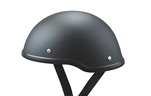Low Profile Novelty Harley Chopper Motorcycle Half Helmet Skull Cap Flat Matte Black (Small 21 1/2