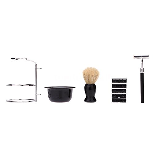 Colonel Costumes Halloween Sander (4 In1 Men Beard Clean Kit Bowl Brush Soap Dish Stand Shaving Razor Set free shipping)