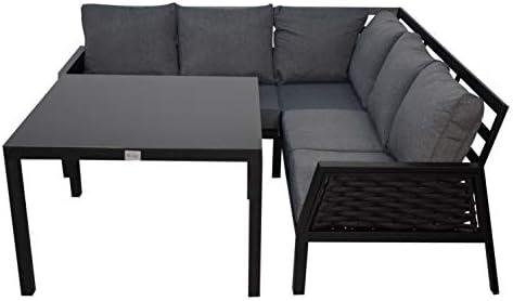 Jet-line - Conjunto de muebles de jardín Ariana en negro, sofá de esquina, jardín, terraza, con mesa: Amazon.es: Jardín