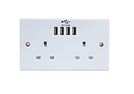 Invero/® 1x Pack of 2 Gang 13A Double Pole Twin Doubled Plug Electric Wall Socket Switched with Square Edge /& Screw Fixings Included