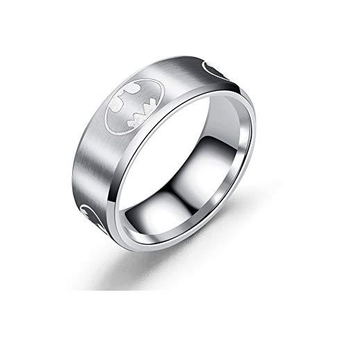 YuRocker Batman Ring for Men Women - Wide 8mm Silver Stainless Steel Jewelry Gift Size 11 (Mens Wedding Rings Batman)