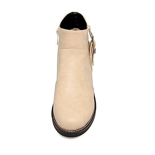 polipiel otoño Zipper 1 4 informal vestimenta negro 3 WIKAI mujer Botas Beige pulg hebilla Chunky botas invierno Gris de Beige moda talón 1A UqF0X