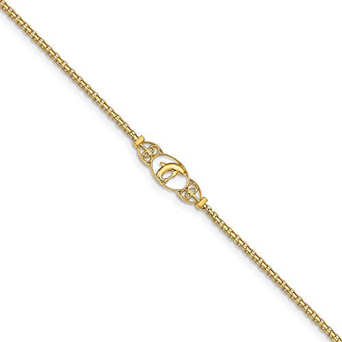 (FB Jewels 14K Yellow Gold Polished Dolphin Anklet)