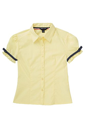 Yellow Uniform (French Toast Big Girls' Short Sleeve Ribbon Bow Blouse, Yellow, 10)
