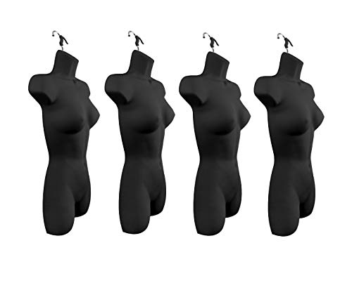 Only Hangers Set of Four Women's Torso Female Plastic Hanging Mannequin Body Forms in Black - Pack of (4) (Hanger Display Female)
