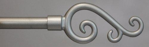 Scroll Decorative Rod Set - Urbanest Adjustable Scroll Finial Curtain Drapery Rod Set, 5/8-inch (Pewter,48