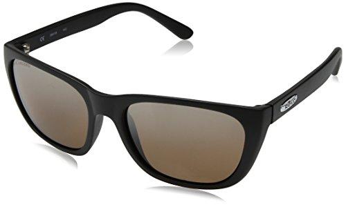 (Revo Unisex RE 4052 Grand Sixties Wayfarer Crystal Lenses Polarized Sunglasses, Matte Black Frame, Bronze)