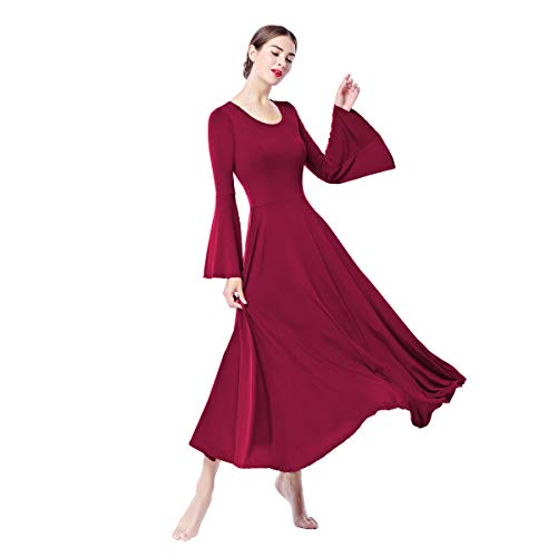 Women Bell Liturgical Praise Dance Dress Long Sleeve Loose Fit Full Length Church Worship Swing Gown Ruffle Tunic Circle Praisewear Costume Adult Skirt Y# Burgundy Bell Sleeve XXL