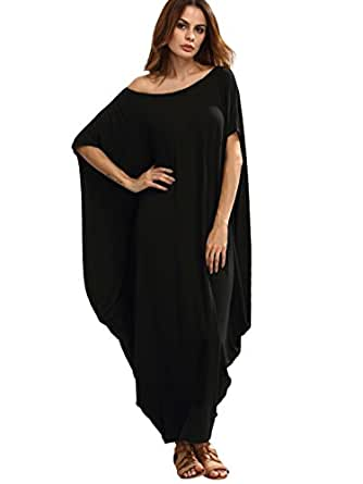 Verdusa Women's Boho One Off Shoulder Caftan Sleeve Harem Maxi Dress Black XS