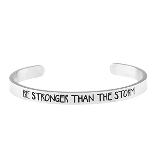 Customized Silver Bracelets (Cuff Bracelet Silver Be Stronger Than The Storm Inspritional Bangle for Women (Silver))