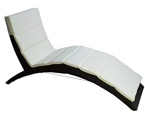 Amazon.com : Lounge Chairs for Pool Area-Tanning Chairs for Outside- Layout Chairs for Tanning - Coffee Plastic PE Rattan Cream Polyester Cushion Folding ...