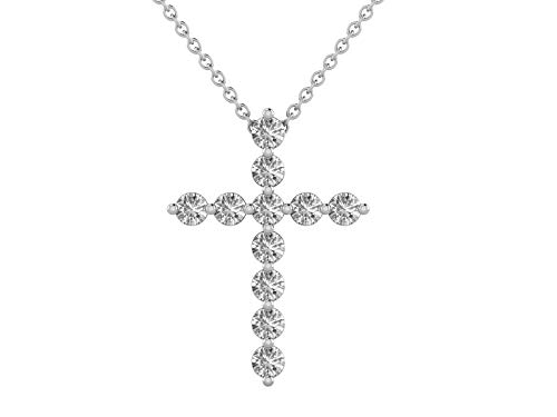 14K White Gold 1/4 Carat (H-I Color,SI2-I1 Clarity) Natural Diamond Cross Pendant Necklace for Women with 18