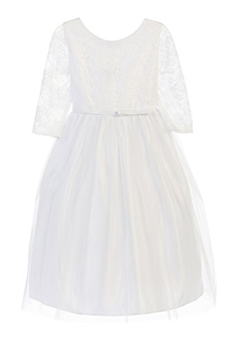 Sweet Kids Lace Top with Tulle Skirt Satin Communion Girls' Dress, 8, White (Tea Length Ribbon)