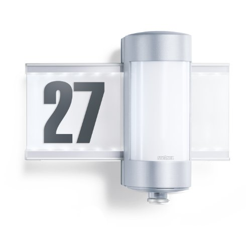 Steinel Sensor Hausnummernleuchte L 270 S mit LED-hinterleuchteter Glasscheibe, Wandleuchte mit 360° Infrarot Bewegungsmelder mit 8 m Reichweite, Außenleuchte inkl. Hausnummernbogen, 647810