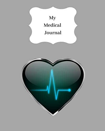 My Medical Journal: Record all your medical details, medication, jabs, hospital appointments, treatment and more. Track your health & lifestyle. Grey with heart wave design