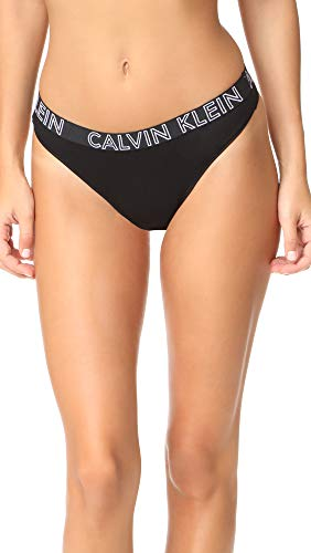 Calvin Klein Women's Ultimate Cotton Thong Panty, Black, Small -