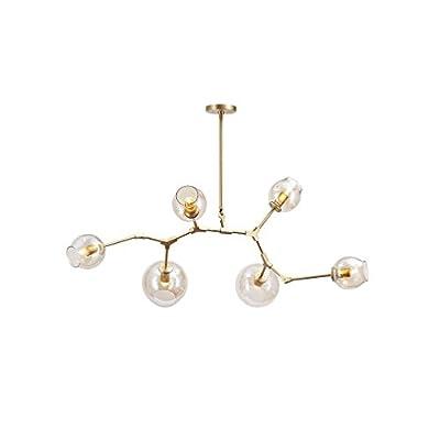 Modern Metal Branch Chandelier Lighting Brushed Brass Modern Adjustable Pendant Lights Vintage Creative Magic Beans Glass Ball Molecular Semi Flush Mount Ceiling Light,Golden,6light